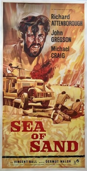 sea of sand 3 sheet film poster linen backed 1958 richard attenborough