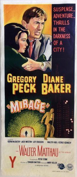 Mirage australian daybill poster 1965 Gregory Peck