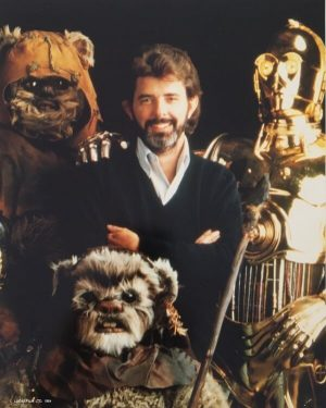 Return of the Jedi publicity photo - Lucas, Ewoks and C3PO