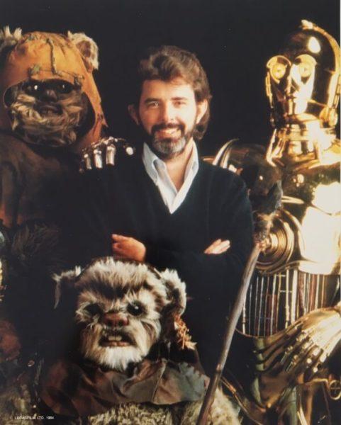 Return of the Jedi publicity photo - Lucas, Ewoks and C3PO