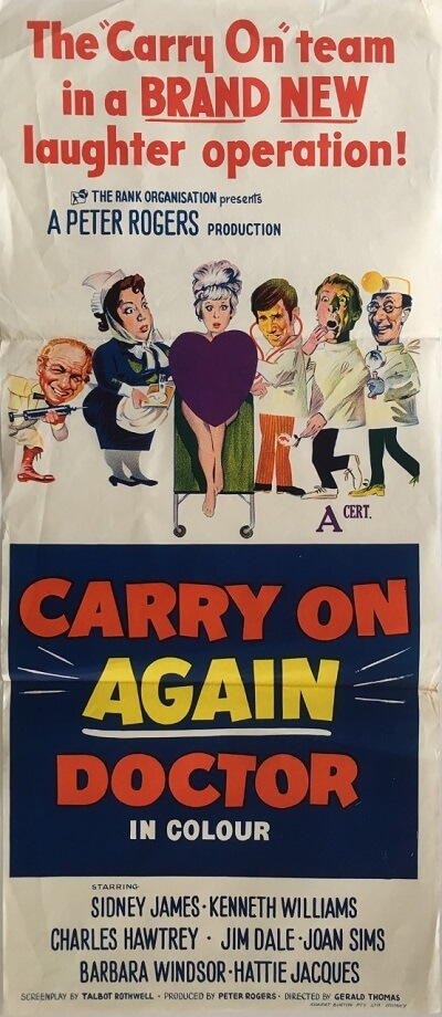carry on again doctor australian daybill poster 1969