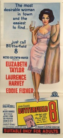 Butterfield 8 australian daybill poster 1960's, elizabeth taylor, laurence harvey, eddie fisher