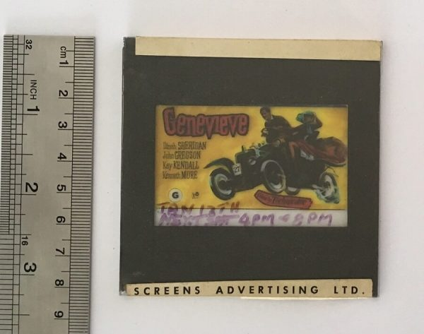 Genevieve original vintage 1954 film glass advertising slide, front
