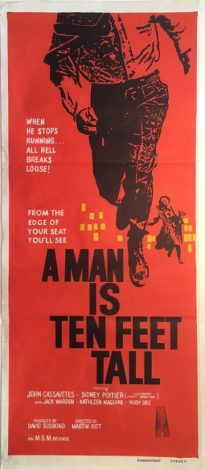 a man is ten feet tall / edge of the city 1957 australian new zealand daybill poster, sidney poitier, john cassavetes, saul bass