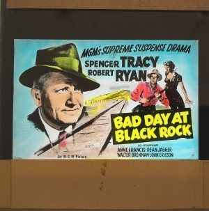 bad day at black rock 1954 original vintage glass advertising slide, spencer tracy