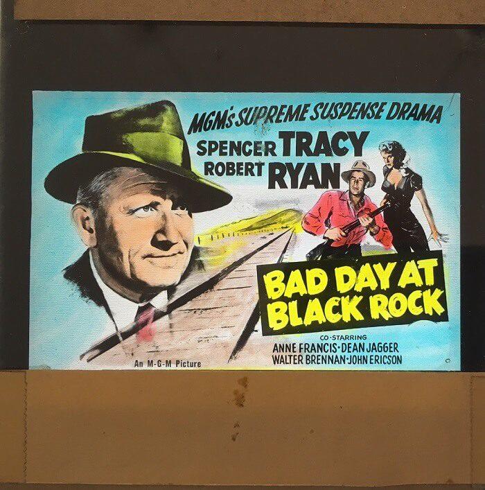 bad day at black rock 1954 original vintage glass advertising slide, spencer tracy