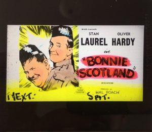 bonnie scotland original vintage 1954 glass advertising slide, Laurel & Hardy