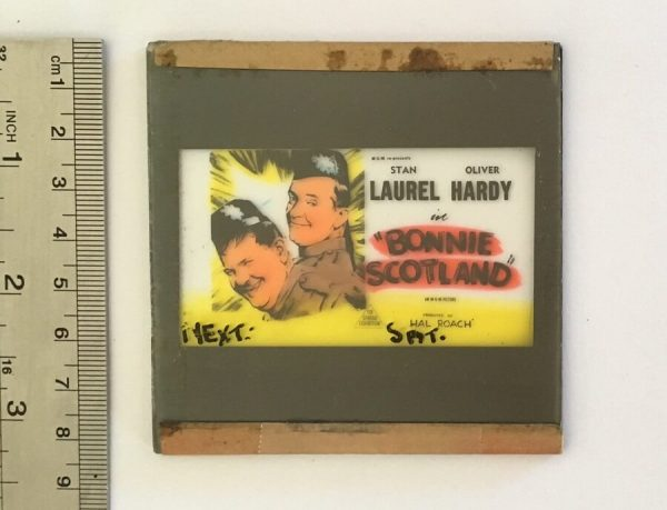 bonnie scotland original vintage 1954 glass advertising slide, Laurel & Hardy