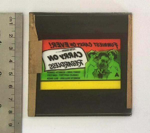 carry on regardless original vintage film glass advertising slide 1962, sid james, kenneth williams