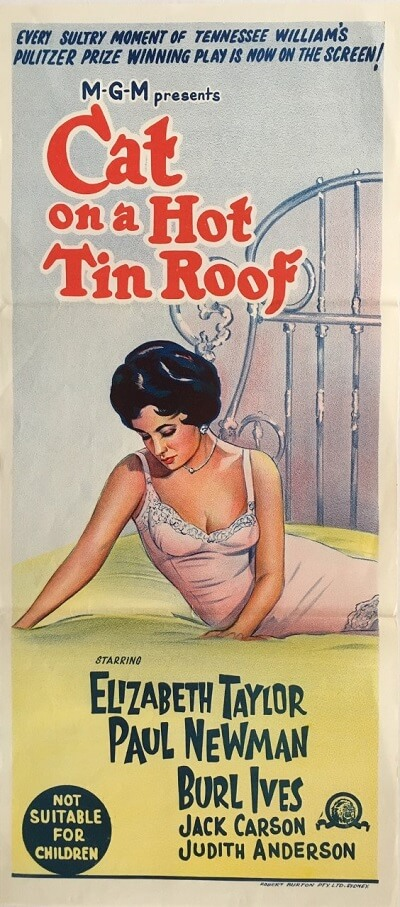 cat on a hot tin roof australian daybill poster 1966, elizabeth taylor, paul newman, burl ives