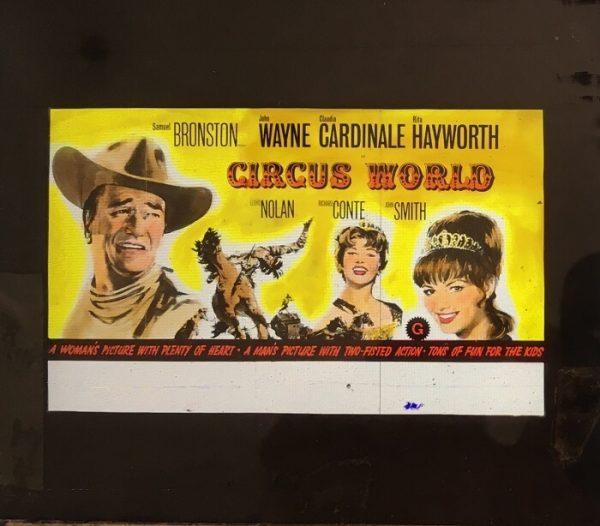 circus world 1964 original vintage glass slide, john wayne, rita hayworth