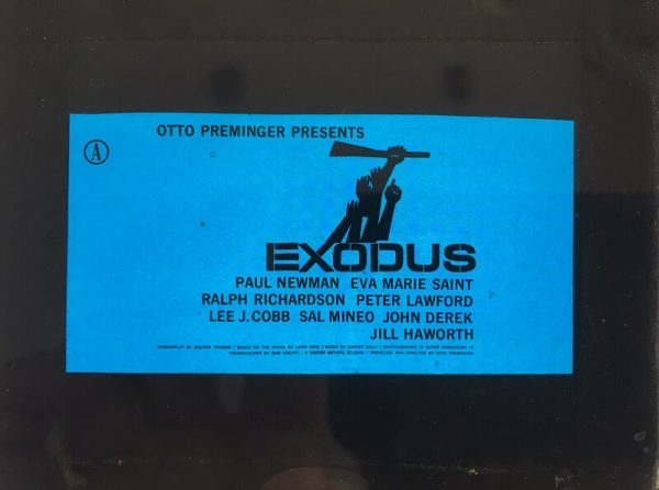 exodus 1960 original vintage glass advertising slide, paul newman, artwork by saul bass