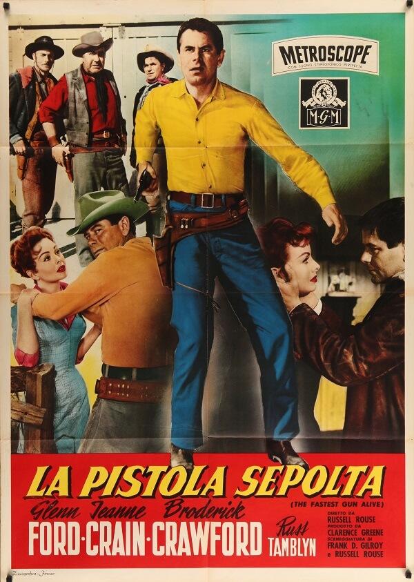 fastest gun alive 1956 italian 1 piece original vintage film movie poster, glenn ford