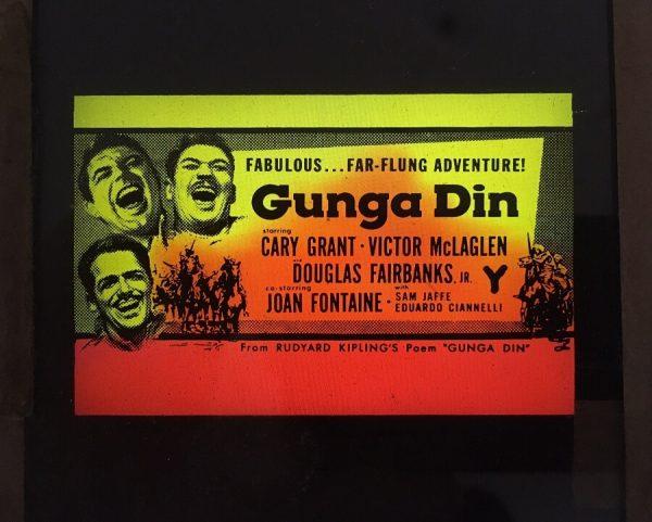 gunga din 1950's original vintage glass advertising slide