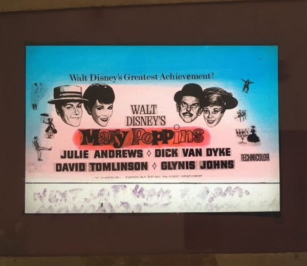 mary poppins original vintage film glass advertising slide 1964, julie andrews, dick van dyke