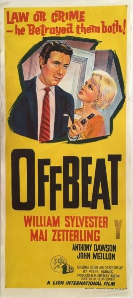 offbeat australian daybill poster 1963 OBT63DB1, staring mai zetterling, william sylvester