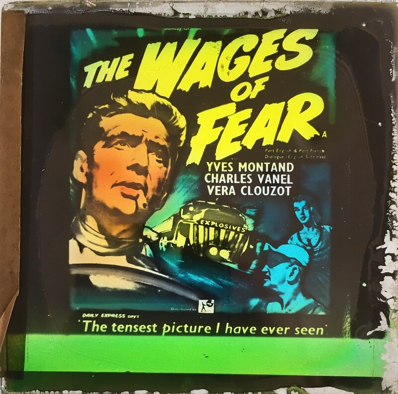wages of fear 1953 original vintage glass advertising slide, yves montand