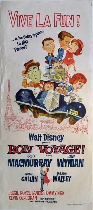 bon voyage 1962 original vintage daybill poster, fred macmurry, jane wyman