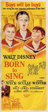 born to sing 1962 almost angels daybill poster, walt disney, peter weck, sean scully, vincent winter