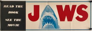 jaws 1975 original book and movie publicity banner / flyer