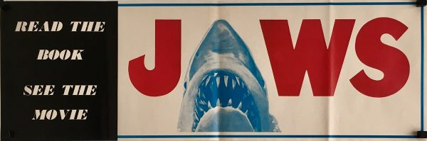 jaws book and movie poster banner flyer 1975 shark