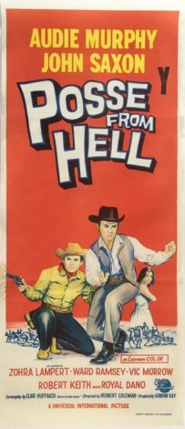 posse from hell 1961 daybill poster, audie murphy, john saxon, zohra lampert
