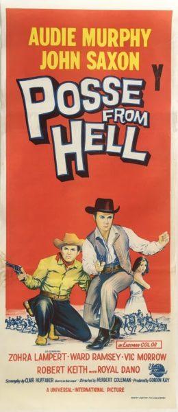 posse from hell 1961 daybill poster, audie murphy, john saxon, zohra lampert