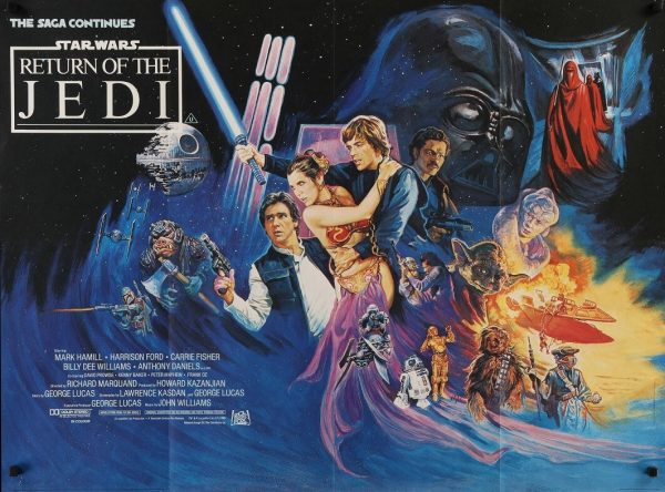 return of the jedi 1982 uk quad poster, star wars, mark hamill, harrison ford, carrie fisher, billy dee williams