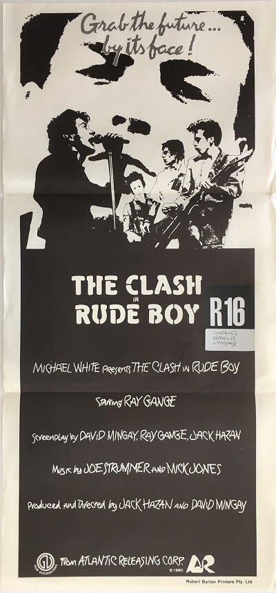 rude boy the clash 1980 australian daybill poster DB2