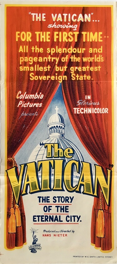 the vatican australian daybill poster 1950 vactican city pope movie
