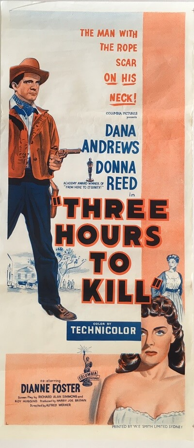 three hours to kill 1954 daybill poster, dana andrews, donna Reed, dianne Foster