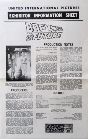 back to the future US exhibitor information sheet front michael j fox
