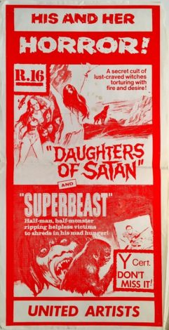 daughters of satan and superbeast NZ daybill poster 1972