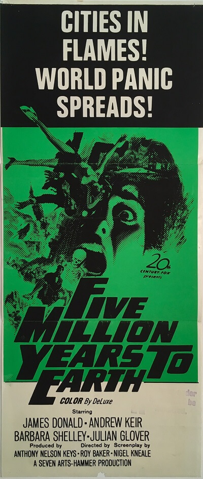 five million years to earth australian daybill poster 1967 Quatermass and the Pit