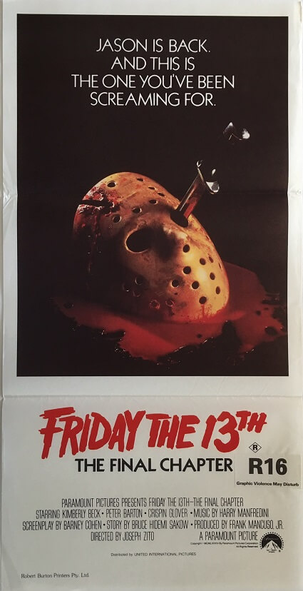 friday the 13th australian daybill poster 1985