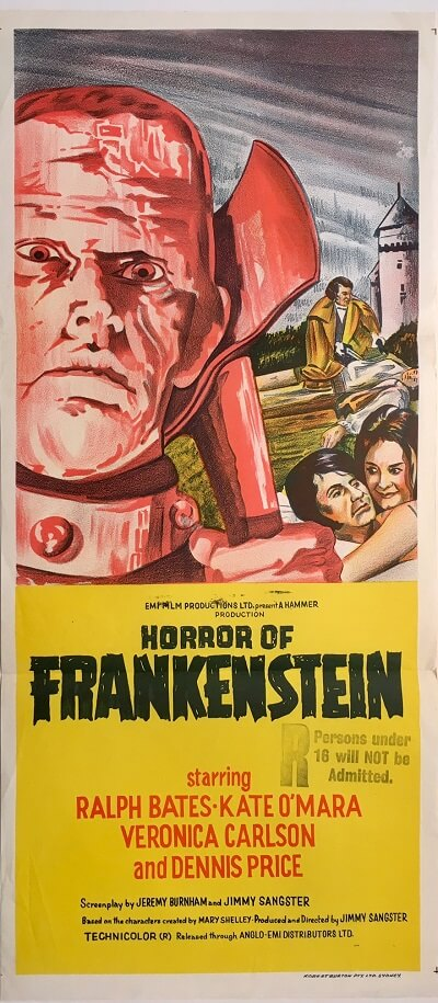 horror of frankenstein australian daybill poster 1970