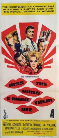 kiss the girls and make them die australian daybill poster 1966