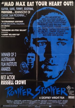 romper stomper australian one sheet movie poster 1992 staring russell crowe
