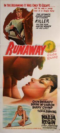 runaway NZ australian daybill poster 1964 runaway killer