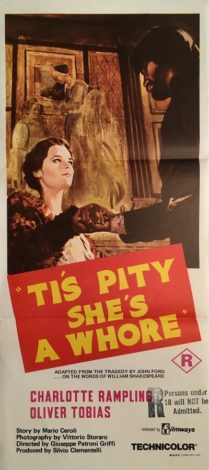 tis pity she's a whore australian daybill poster