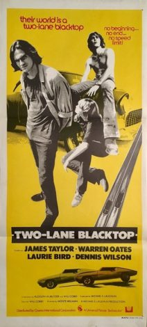 two-lane blacktop australian daybill poster 1971 two lane blacktop james taylor warren oats