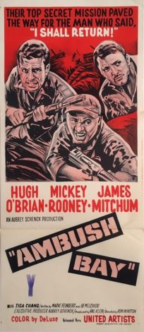 ambush bay australian and NZ daybill war movie poster staring hugh obrian, mickey rooney and james mitchum