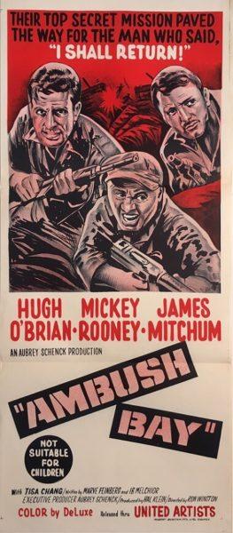 ambush bay australian daybill war movie poster staring hugh obrian, mickey rooney and james mitchum