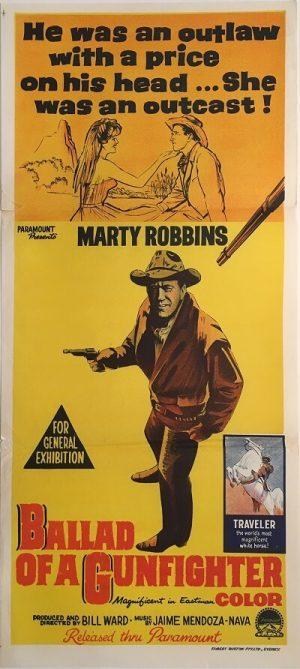 ballard of a gunfighter australian daybill poster marty robbins