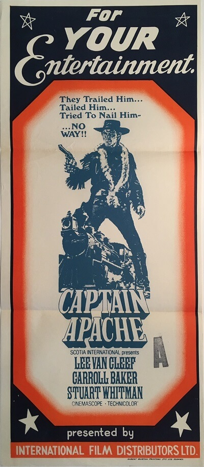 captain apache australian stock daybill poster lee van cleef
