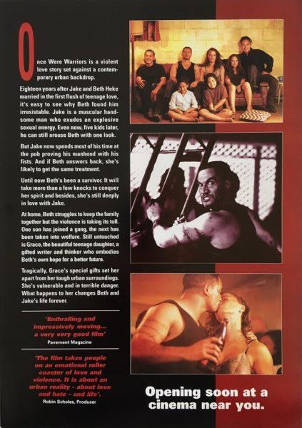 once were warriors new zealand info sheet rear 1994