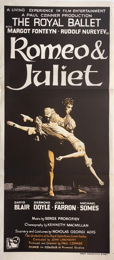 romeo & juliet australian daybill poster ballet rudolf nureyev & margot foteyn