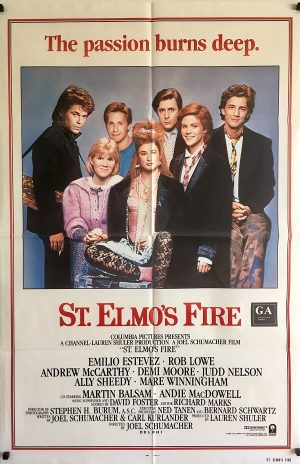 st elmos fire one sheet poster the brat pack