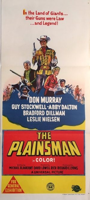 the plainsman australian daybill poster western don murray leslie nielsen