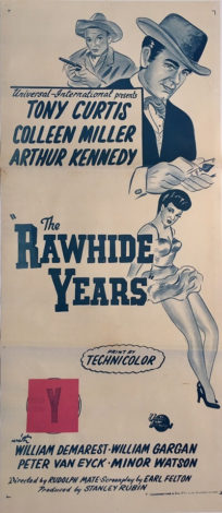 the rawhide years australian re-release daybill poster tony curtis